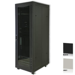 "12U 19"" Black Network Cabinets 600 X 1000 Glass Door"