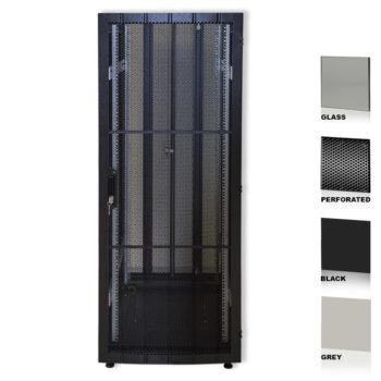 """25U 19"""" Black Network Cabinets 600 X 1200 Glass Perforated"""