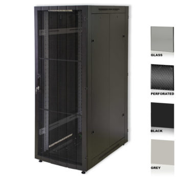 "25U 19"" Black Network Cabinets 800 X 1000 Glass Perforated"