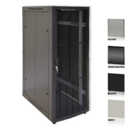 "25U 19"" Black Network Cabinets 800 X 1200 Glass Perforated"
