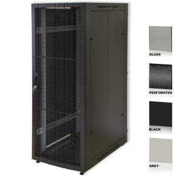 """25U 19"""" Grey Network Cabinets 800 X 1000 Glass Perforated"""