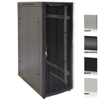 "25U 19"" Grey Network Cabinets 800 X 1200 Glass Perforated"