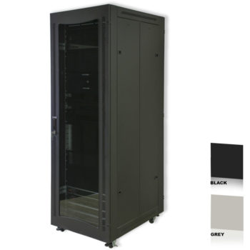 "34U 19"" Black Network Cabinets 600 X 1000 Glass Door"