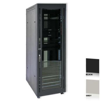 """38U 19"""" Black Network Cabinets 600 X 600 Glass Door"""