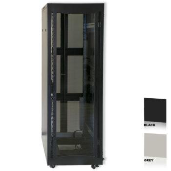 """38U 19"""" Black Network Cabinets 600 X 800 Glass Door"""